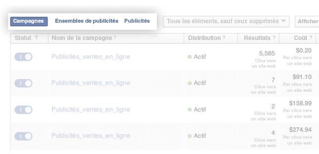 Sponsorisation Facebook : un exemple de structure de campagne